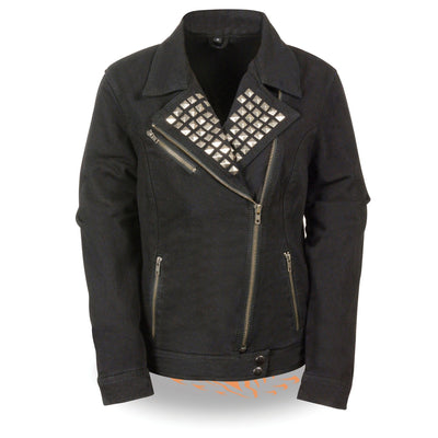 Milwaukee Performance Denim-MDL2000-Ladies Zipper Front Black Denim Jacket with Studded Spikes