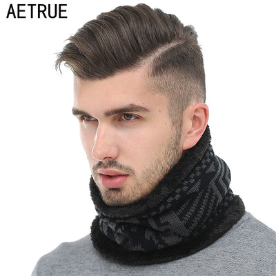 AETRUE Fashion Winter Scarves For Men Women Winter Men Scarf Ring Warp Shawl Print Thick Collar Neck Snood Warm Soft Scarves