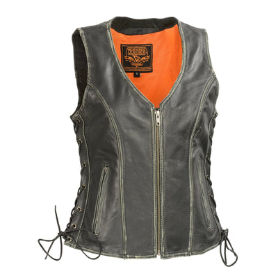 Milwaukee Leather-MLL4517-Women's Black Leather Vest with Front Zipper Closure