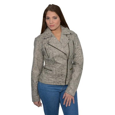 Milwaukee Leather-SFL2835-Ladies Distressed Brown Leather Motorcycle Jacket  Look with Asymmetrical Zipper