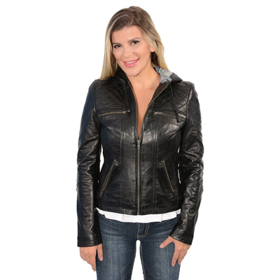 Milwaukee Leather-SFL2810-Ladies Black Hooded scuba jacket with draw string