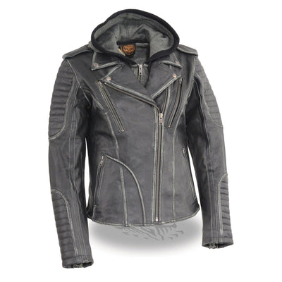 Milwaukee Leather-MLL2516-Women's Black Rub-off M/C Jacket with Full Hoodie Jacket Liner