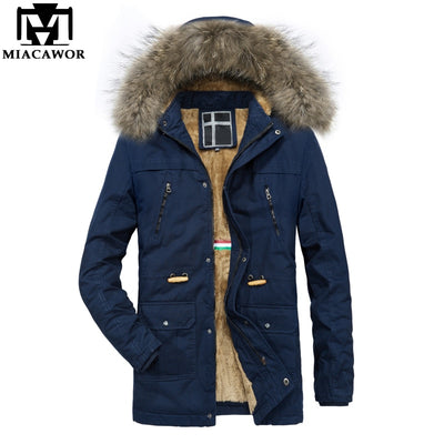 MIACAWOR New Winter Jacket 100% Cotton Men Parka Hooded Fur Collar Warm Winter Coat Windbreak Outwear Jaqueta Masculina J508