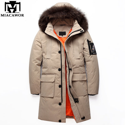 MIACAWOR New Winter Down Jacket Men Women -40 degrees Thick Warm Men Parka Hooded Fur Collar Down Coat Plus Size 5XL J583