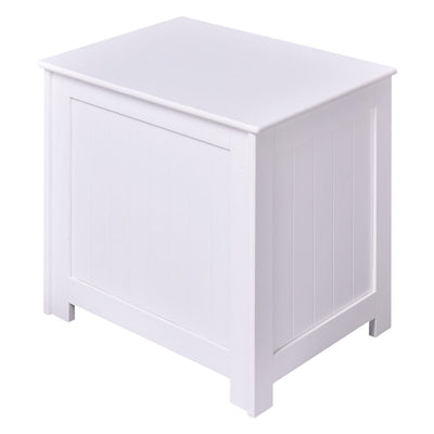 White Wood Laundry Hamper Clothes Storage Basket