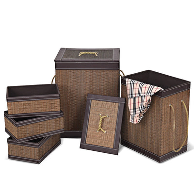 5 pcs Square Bamboo Hamper Laundry Basket Storage Bin