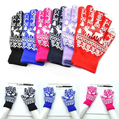 1 Pair Knitting Glove Keep Warm Windproof Anti-slip Christmas Deer For Women Men Winter Best Sale- Popular