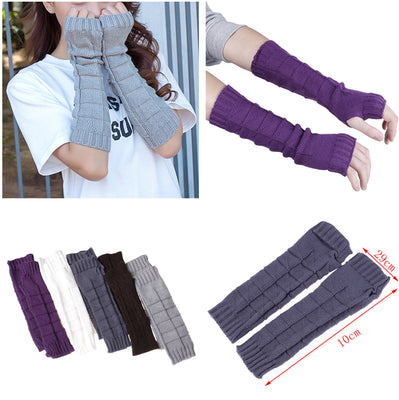 Fashion Women Winter Wrist Arm Warmer Knitted Long Fingerless Gloves Mittens High Quality Thermal Protective Arm Warmers Gloves