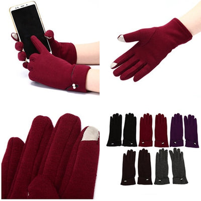 Plush  Winter Female Pearl Warm Cashmere Cute Mittens Double Thick  Wrist Women Touch Screen Driving Gloves