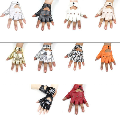 Women Gloves Faux Leather Fashion Hollow Heart Shape Mittens Female Glove Party Dance Decoration Half Fingers Fitness Clothing