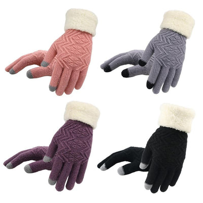 Women Magic Touch Screen Full Finger Gloves Thicken Lining Contrast Color Plush Patchwork Mittens Twill Knitted Wrist Warmer