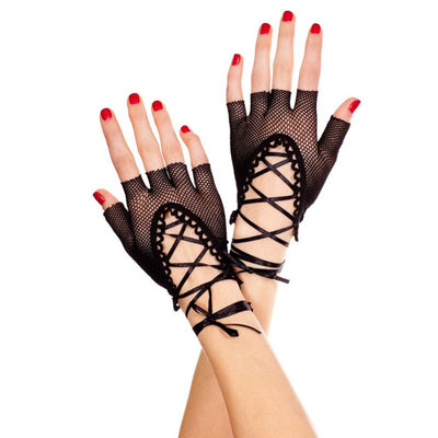 Women Wrist Length Punk Sexy Half Finger Gloves Solid Color Hollow Out Fishnet Criss Cross Lace Up Bandage Mittens Dancing Party