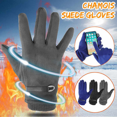 Leather Buckle Suede Touchs Screen Windproof Warm Gloves Cold Protection Driving Riding Outdoor Sports Motorcycle Mittens Gloves