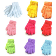 Child Toddler Winter Thickened Coral Velvet Full Fingered Gloves Thermal Bright Sweet Candy Color Mittens Wrist Warmer