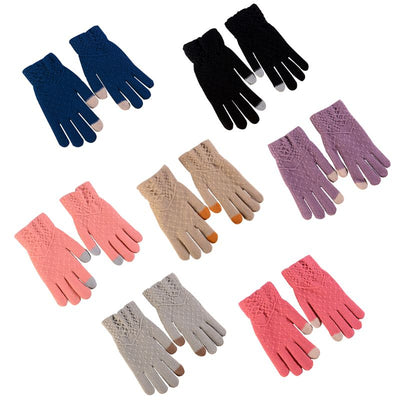 Women Winter Woolen Knitted Gloves Touch Screen Mittens Keep Warm Stripe Gloves