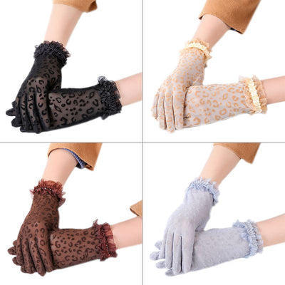 Party Dressy Gloves Women High Quality Leopard Print Lace Gloves Paragraph Gloves Mittens Accessories Full Finger