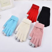 Fashion Winter Warm Vogue Solid Knitted Full Finger Gloves Mittens For Smart Phone Touches Screen JL