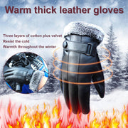 1 Pair PU Leather Touchscreen Lining Plush Gloves Windproof Driving Gloves Black Winter Warm Glove JL