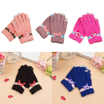 Winter Touch Screen Gloves Plus Cashmere Knitted Cashmere Imitation Cashmere Jacquard Thick Warm Women Gloves