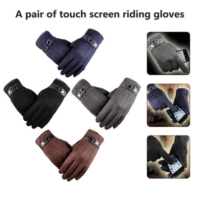 A Pair Winter Gloves Touching Screen Cashmere Gloves Mittens Windproof Cold New Men's Suede Warm Touch Screen Riding Gloves