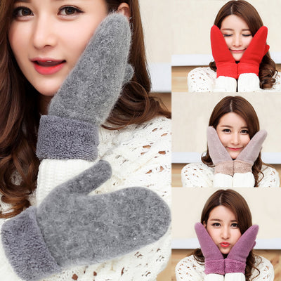 Autumn and winter women's fashion warm knit gloves thick cashmere cute fingerless solid winter women's  clothing accessories