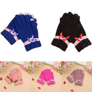 Winter Touch Screen Gloves Plus Cashmere Knitted Cashmere Imitation Cashmere Jacquard Women Thick Warm Gloves