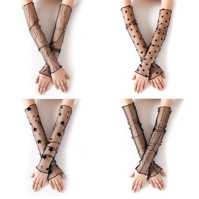 Summer Women Sexy Lace Gloves Sunscreen Long Lace Fingerless Mittens Covered Scar Elastic Sleeve Ladies Driving Gloves