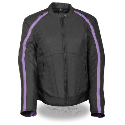 Milwaukee Performance Textile-MPL1954-Women's  Black and Purple Textile Jacket with Stud & Wings Detailing