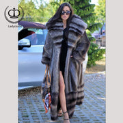 2018 New Arrival Full Pelt Long Real Raccoon Fur Coat With Big Hood Coat Fur Natural Women Overcoat Winter Fashion Luxury FC-150