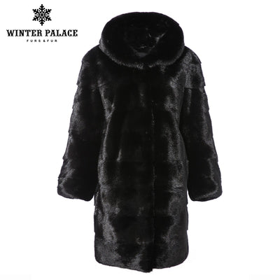 2018 winter new mink fur coat imported real mink fur coat medium long section real mink fur coat woman hooded fur coat