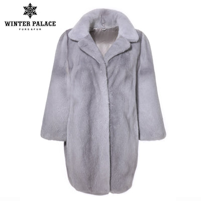 Sapphire color mink fur coat suit collar import fur coat velvet grade mink fur coat fashion winter fur coats for women