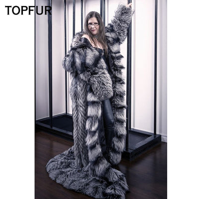 TOPFUR 2018 Winter Real Fox Fur Coats Women 160 CM X-Long Genuine Silver Fox Fur Outwear With Hood Luxury Thick Warm Fur Coat