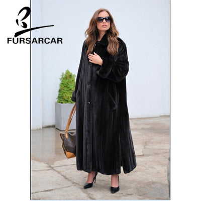 FURSARCAR Winter New Real Mink Fur Coat Women 130 CM Long England Style Female Mink Fur Coat With Turn-down Fur Collar