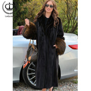 120CM X-long Full Pelt Mink Fur Coats For Women Creative Raccoon Dog & Fox Fur Cuff Real Mink Jackets Outer Garment Tops MKW-206