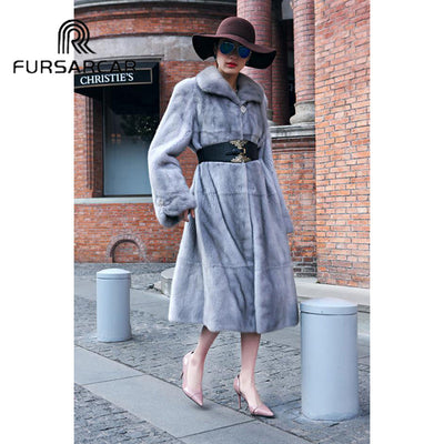 FURSARCAR Fashion New Natural Real Fur Coat Women Luxury Genuine Leather Natural Mink Fur Winter Coat With Turn-down Fur Collar