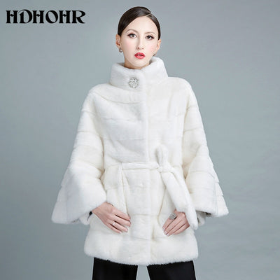 HDHOHR 2018 New White Fur Coat Natural Mink Fur Coats With Belt Genuine Strip Long Jackets  Female Fashion Silm Real Fur Coats
