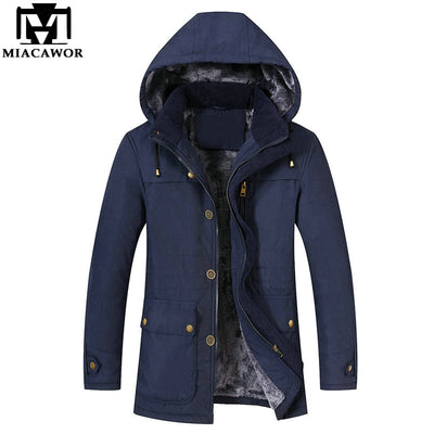 MIACAWOR New Warm Men Parkas Thicken Fleece Winter Jacket Men Hooded Overcoat Fashion Outwear Male Coats Brand Clothing J556