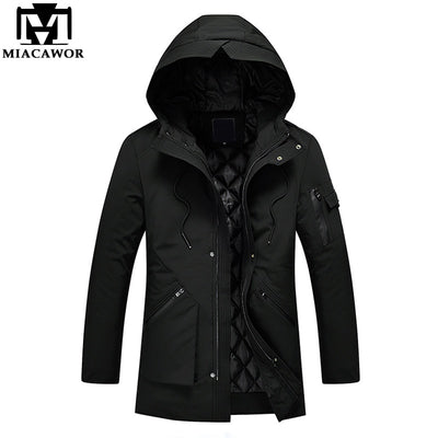MIACAWOR Winter Man Jacket Warm Men Parka Hooded Windproof Men Coat Casual Overcoat Male Clothes Plus Size 5XL J496