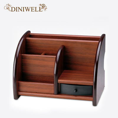 DINIWELL Wooden Desktop Organizer Storage Box Jewelry Makeup brush Holder Office Stationery Pen Pencil Box Storage Rack