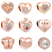 2018 new free shipping european 1pc rose gold princess heart crown diy jewelry marking bead fit pandora charm bracelet D028