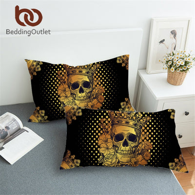 BeddingOutlet Sugar Skull Queen Pillowcase Floral Golden Pillow Case Black Bedding Gothic Crown Roses Pillow Cover 2pcs 50x90cm