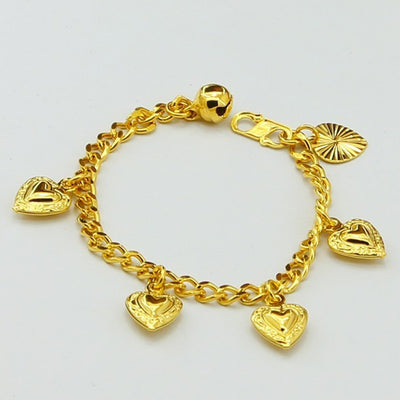 promotion pure gold color baby / children chain bracelet,fashion Kids bracelet,24K GP yellow 3mm chain with hearts Bracelet 14cm