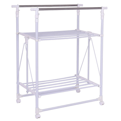 Folding Adjustable Rolling Clothes Rack Hanger with 2 Shelves