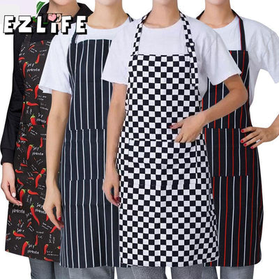 EZLIFE Stripped Chef Aprons With 2 Pockets Sleeveless Adult Men Women Apron Kitchen Cooking Tools Plaid Polyester Bibs