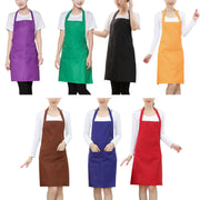 Women Apron Waterproof With Pockets Solid Color Kitchen Restaurant Cooking Shop Art Work Apron Korean Waiter Aprons