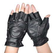 KUYOMENS Men Fingerless Cycling Gloves Genuine Leather Half Finger Glove  Unisex Adult Fingerless Mittens