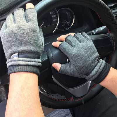 Unisex Couple Winter Gloves Women Men Fleece Warm Half Finger Gloves Stretch Fingerless Mittens Outdoor Bicycle Driving Gloves