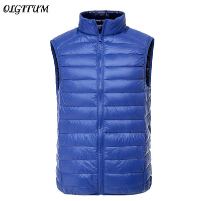 New 2019 Double-Sided Wear Men Sleeveless Jacket Winter Brand Vest Male Ultralight White Duck Down Vest Portable Slim Waistcoat