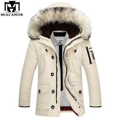 MIACAWOR New High Quality Down Coat Men Windproof Thick Warm Winter Jackets Fur Collar Hooded Casual Man Down Jacket J579