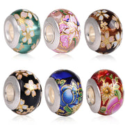Handwork DIY Craft Colorful Flower Drawing Painted Crystal Glass Bead Charms Big Hole for Pandora Jewelry Bracelet Necklace